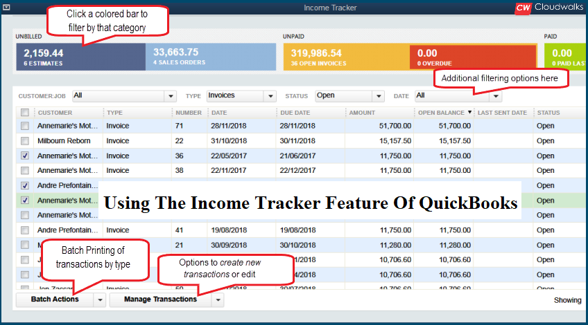 Quickbooks Income Tracker